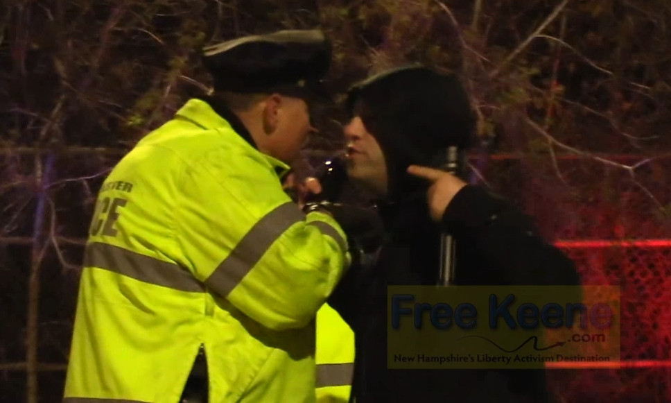 VIDEO: Keene Cop Blocker Arrested for Crossing Street at DUI Checkpoint in Manchester